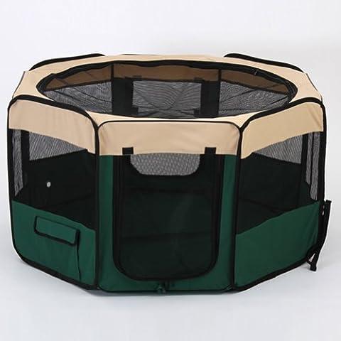 Amzdeal® Box per animali trasportino per animali domestici Gabbia per animali domestici Recinzione per cuccioli animali pieghevole Verde (60 x 66 x155cm)
