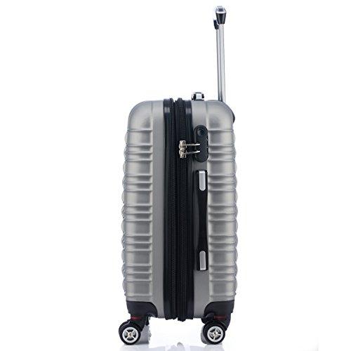 Zwillingsrollen 2088 Reisekoffer Koffer Trolleys Hartschale in XL-L-M in 14 Farben Silber