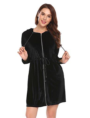 ADOME Damen Morgenmantel Reißverschluss Bademantel Nachthemd Lang Hausanzug mit Kapuze - Reißverschluss Für Nachthemden Mit Damen
