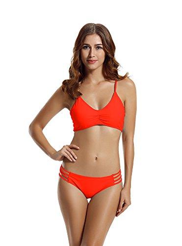 Zeraca Damen Strap Side Bikinihosen Racerback Bikini Badeanzüge M Euro 40 Coral Braze (Top Cinched Taille)