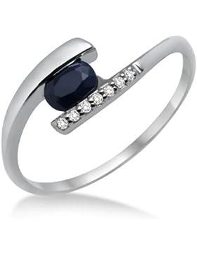 Miore Damen-Ring 375 Weißgold mit Brillanten und Saphir MH9003R