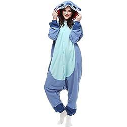 Pijama de invierno de una pieza, talla para adulto, de franela, Blue New Stitch, M (160-165 cm)