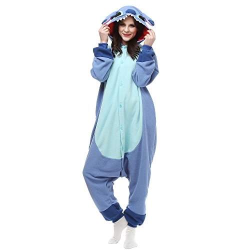 Winter Warm Flanell Unisex Einteiler/Pyjama für Erwachsene Stitch Pyjama,Blue New Stitch,M (Stich Pajama Kostüm)