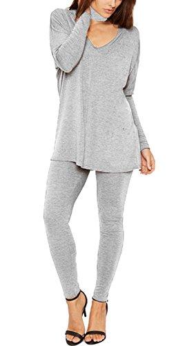 Janisramone - Survêtement - Uni - Manches Longues - Femme noir * taille unique Gris