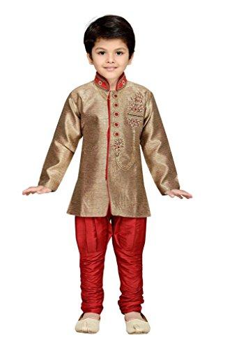 AJ Dezines kids festive and party wear Sherwani for boys (647_RED_2)