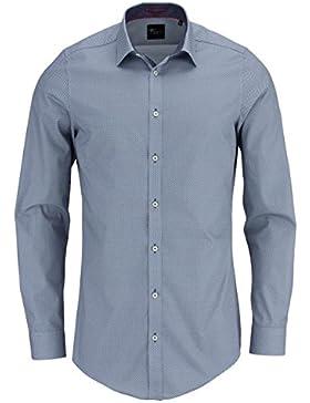 VENIT Body Fit Hemd super langer Arm Stretch Muster mittelgrau AL 72