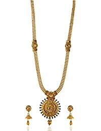 Reeti Fashions - Elegantly Carved Beaded Chain Round Necklace Set For Women (RF17_10B_98)