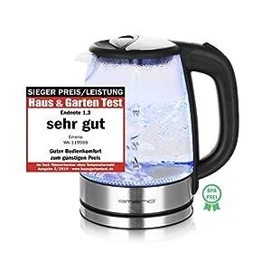 Emerio WK-119988 Glas Wasserkocher,1.7 Liter, 2200 Watt, LED Innenbeleuchtung, 360° Basis, Sieger Preis/Leistung Haus & Garten Test 02/2019, 1.7 liters, Schwarz, Edelstahl