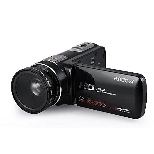 Andoer HDV-Z80 1080P Full HD 24MP Digital Videokamera Camcorder mit 0.45X Weitwinkel Objektiv Fernbedienung 3