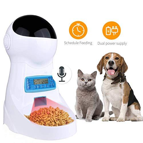 Pujuas Distributeur Automatique de Nourriture Distributeur de Croquettes Gamelle Enregistrement 4 Repas pour Chats et Chiens 4L (4L)