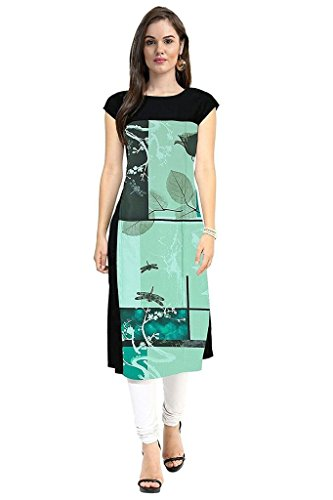 New Ethnic 4 You Women's Crepe Straight Kurta (Ngg034-Xl,Green & Black,X-Large)