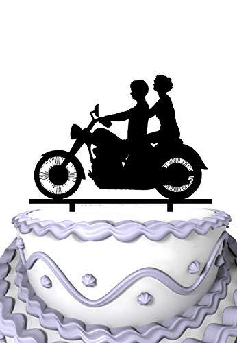 Rummy Braut und Brautigam mit Schrift M & J Motorrad-Monogramm-Kuchen-Deckel 804001 (Kuchen-deckel-monogramm-m)