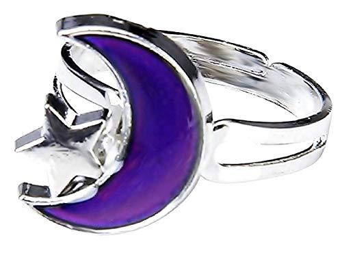 Inception Pro Infinite Magischer Ring Stimmung Stimmung Ring mit Mond-Symbol und Stern Farbe ändern abhängig von Stimmung Geschenk Idee Mädchen Jungen einstellbar - Stimmung Kinder Ringe