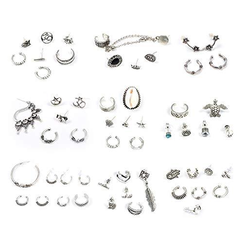 Orecchini bohéien, comius 9 paia set orecchini donna in stile retrò, gypsy, vintage, in argento