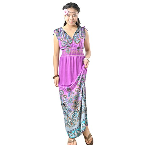 QIYUN.Z Vintage Paisley Gedruckten Frauen aermellose V-Ausschnitt, Strand Boehmisches Langes Kleid Lavendel
