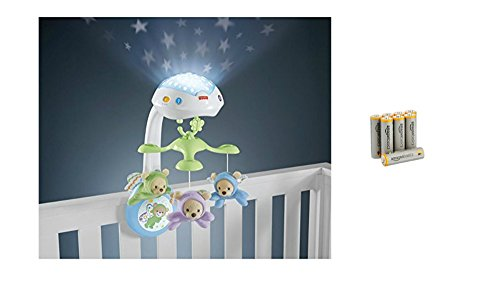 Mattel Fisher-Price CDN41 3-in-1 Traumbärchen Mobile und AmazonBasics Performance Batterien Alkali, AA, 8er Pack