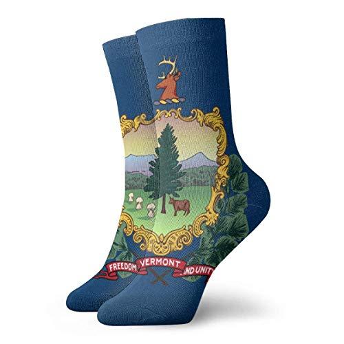 yting Lustige bunte Flagge von Vermont-klassischen atmungsaktiven Mannschafts-Socken 30 cm flach gestrickte zufällige athletische tägliche Sportsocken (Socken Aus Vermont)