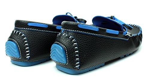 NUOVO DA UOMO MOCASSINI SLIP ON CASUAL Driving scarpe pizzo mocassini ITALIANA DESIGN TAGLIE Nero