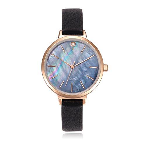 Damen Uhren, Elegante Damen Lederband Armbanduhren mit Roségold Edelstahlgehäuse Damenuhr Wasserdicht Quarzuhr Ziffer Blattfar be Perlmutt für Hübsche Frau Mädchen-Schwarz