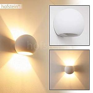 Wandlampe Flot aus Keramik in Weiß, Wandleuchte mit Up & Down-Effekt, 1 x G9-Fassung max. 33 Watt, Innenwandleuchte mit handelsüblichen Farben bemalbar, geeignet für LED Leuchtmittel