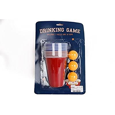 Original Adulte Boisson Jeu Beer Pong Set 12 Rouge Gobelet En Plastique 3 Ping Pong Balles