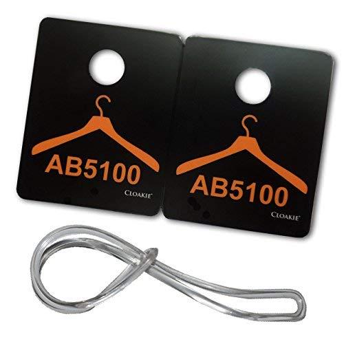 200cloakie® Mini Kunststoff Garderobe Tickets/Tags nummeriert (100Paare) Plus 100Gepäck Loops–Kleiderbügel Design