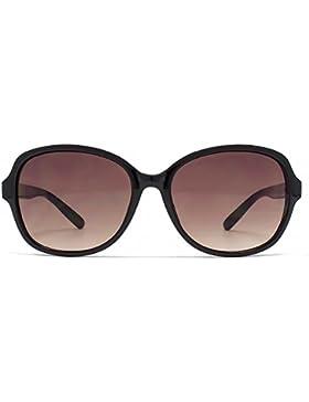 French Connection Quadratische Sonnenbrille in schwarz auf schwarz schildpatt auf Fuchs FCU644