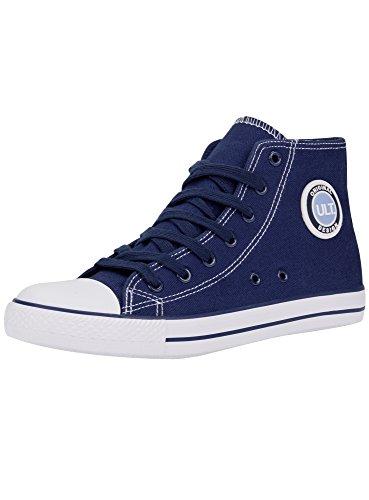 oodji Ultra Donna Sneakers Alte di Tela in Cotone Blu (7910B)