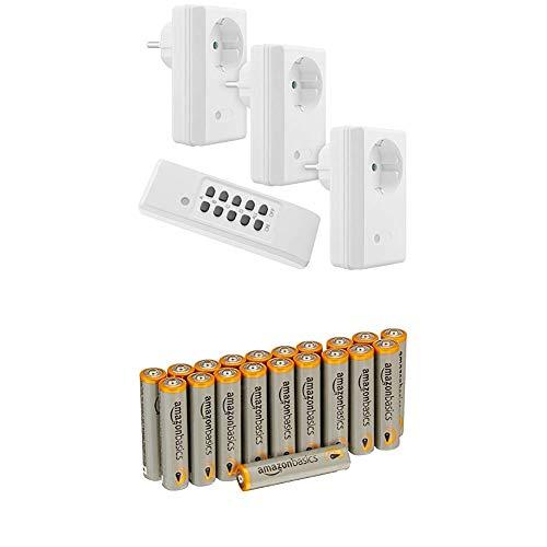 mumbi 4-Kanal 1100 Watt Funksteckdosen Set FS300: 3x Funksteckdose und 1x Fernbedienung - Plug & Play Funkschalt Set mit AmazonBasics Batterien
