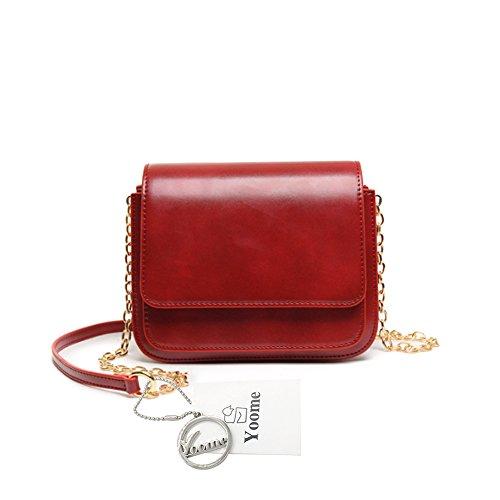 Yoome Retro Flap Bag Pure Color Alley Stile Elegante Zigzag Catena Pieghevole Borse Piccole Per Le Donne - Marrone Rosso