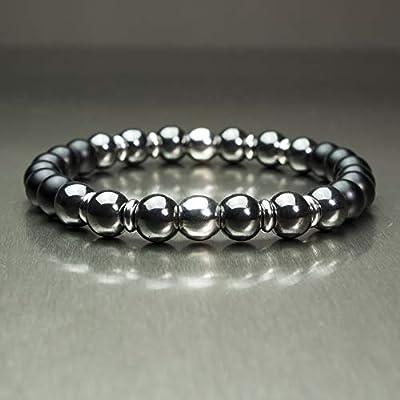 BRACELET Homme Perles Ø 8mm pierre naturelle Agate noir mat (Onyx) Hématite Acier inoxydable/inox Bijoux qualité Fait main BRAGGATIS