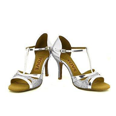 Scarpe da ballo-Personalizzabile-Da donna-Balli latino-americani / Salsa-Tacco su misura-Brillantini-Nero / Argento / Dorato sliver