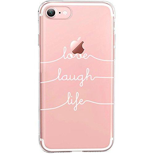 Girlscases® | Hülle kompatibel für iPhone 8/7 | Mit coolen Spruch Aufdruck Motiv | Love-Laugh-Life | Case transparente Schutzhülle | Farbe: weiß | Cool Silikon