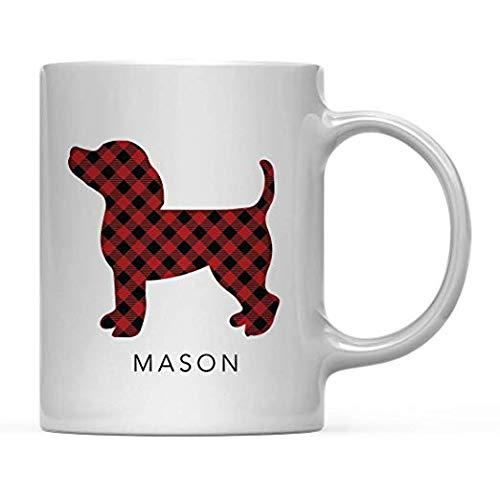 TK.DILIGARM Personalized Hot Chocolate Coffee Mug Gift, Buffalo Lumberjack Red Plaid Dog, 1-Pack, Custom, Includes Gift Bag, Christmas Holiday Present Ideas Holiday Becher