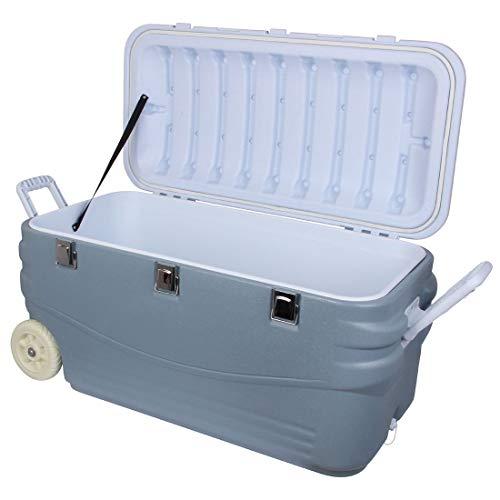 10T Outdoor Equipment Unisex - Adultos Fridgo Arona 100L pasiva Thermobox PU Kühlbehälter XL Isolierbox sobre Ruedas Warm/fría Azul 100 litros