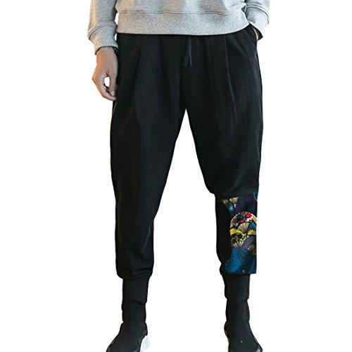 HZCX FASHION Men's Cotton Blends Linen Relax Fit Elastic Waist Jogging Pants