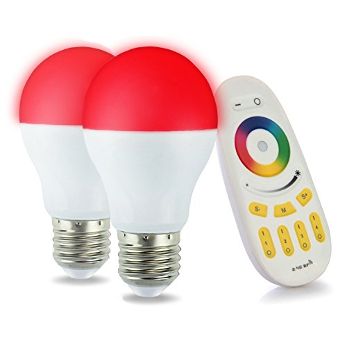 LIGHTEU®, 2x WLAN LED Lampe original MILIGHT Color RGB- Warm Weiß, 6 Watt, E27, dimmbar, mit 4 zonen Fernbedienung, Farbwechsel Glühbirne, WiFi bulb - 6w Farbe