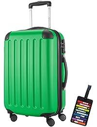 Hauptstadtkoffer® Bagaglio a mano (49 litri) con un lucchetto TSA Seria SPREE (Colore Verde con 1 ciondolo per la valigia)