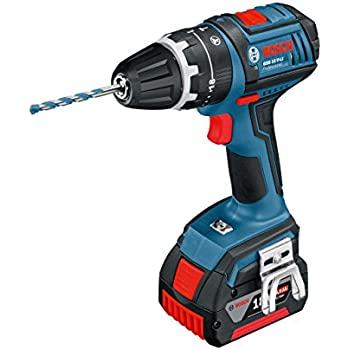 Bosch Professional GSB 18 V-LI Cordless Combi Drill with Two 18 V 4.0 Ah Lithium-Ion Batteries - L-Boxx