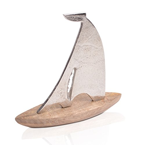 CHICCIE Segelboot aus Eisen auf Mangoholzsockel - Länge 26cm Martime Deko Schiff Boot (Schiffs Modell Aus Holz)