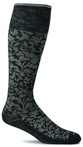 Sockwell Women's Damask Compression Socks-Black, Small/Medium