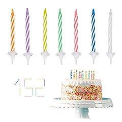 Idea Regalo - Relaxdays - Candeline per Compleanno, 152 Pezzi, con Supporto, per Torta di Compleanno, 6 cm