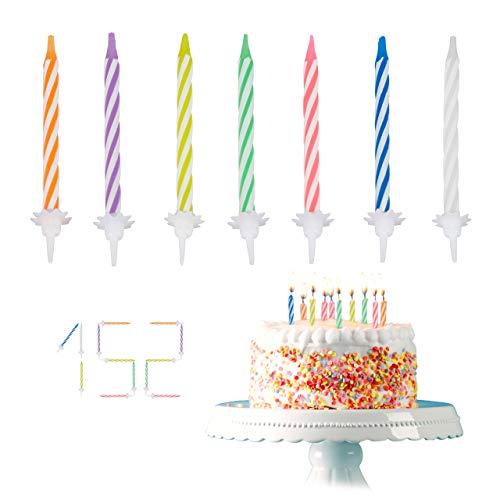 Relaxdays Geburtstagskerzen, 152-teiliges Kerzenset mit Haltern, Kuchenkerzen für Geburtstagsdeko, Partykerzen 6cm, Bunt