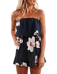 Bekleidung Jumpsuit Loveso Sommerkleider Damen Mode Elegante Lotus Form Blumenmuster Ärmellos Schulterfrei Kurze Hosen Polyester Overall Strandkleider