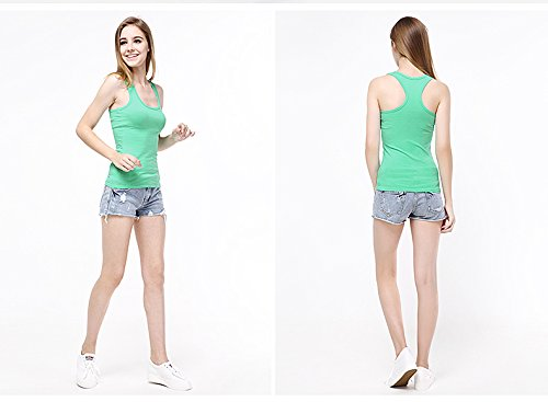 Women's Summer Solid Vest Tops Cotton T Shirt Solid color Rose Red
