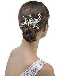 AWEI 2017 Peigne Cheveux Mariage, Cristaux Srgenté Accessoire Cheveux Mariage, Fait à la Main, Vintage, Perles, Serre Tete Mariage pour Mariée, Mère de la Mariée