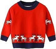 Gaga city Jersey Punto Navidad Reno Niños Niñas, Sudaderas Navideñas Suéter Cálido Navideño Infantil Unisex 80