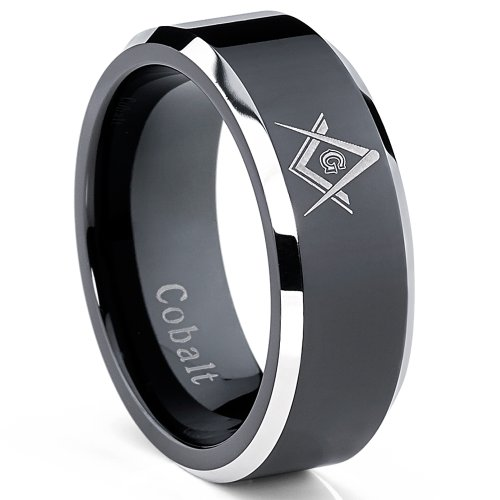 8MM Herren Kobalt Ton zwei schwarzen Freimaurer Ring band ,Bequemlichkeit Passen,Größe 57 (Zwei-ton-herren-ehering)