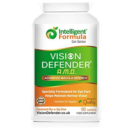 AREDS2 VISION DEFENDER AMD – Formule AREDS2 Un-par-jour Pratique (stock de 3 mois – 90 comprimés), Lutéine de Qualité, Supplément Nutritionnel Santé avec Multivitamines & Minéraux pour les Yeux par Intelligent Formula