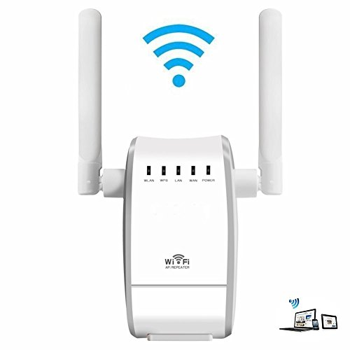 Enrutador inalámbrico,WiFi Router Extensor de red, 300Mbps Wireless Amplificador/Repetidor /WiFi Extensor de Rango Punto de acceso(WPS, 2,4 GHz,puerto 1 WAN + 1 LAN,Universal EU Enchufe)– Blanco